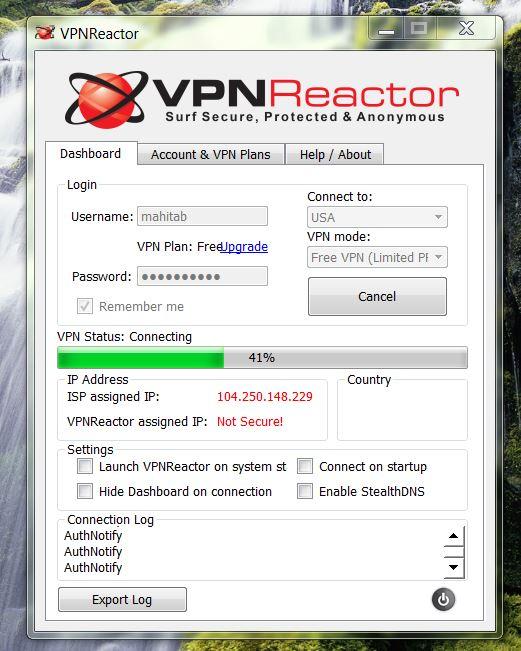 vpnreactor connecting